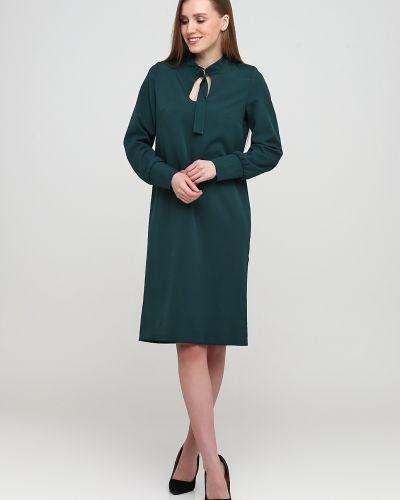 Прямое зеленое платье макси на пуговицах No Brand