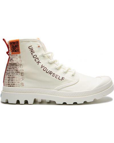 Текстильные белые ботинки милитари Palladium
