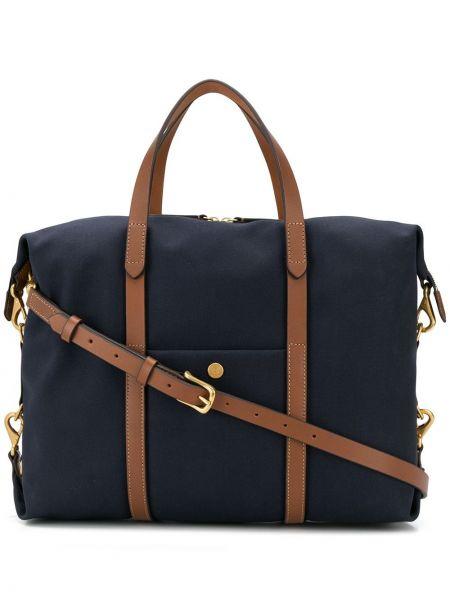 Синяя сумка-тоут на молнии круглая Mismo