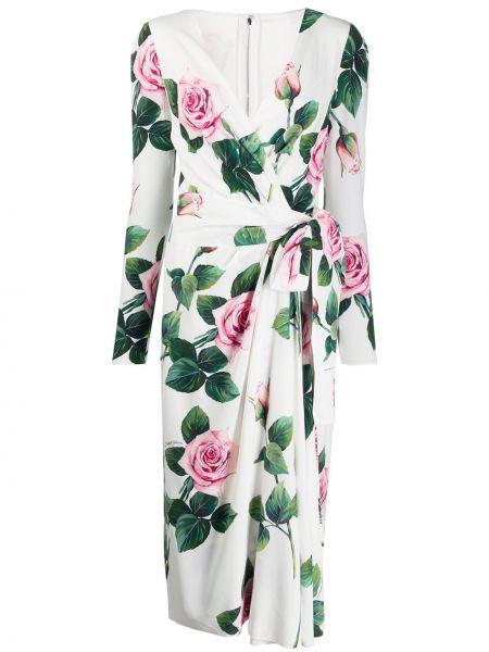 Платье миди на запах - белое Dolce & Gabbana
