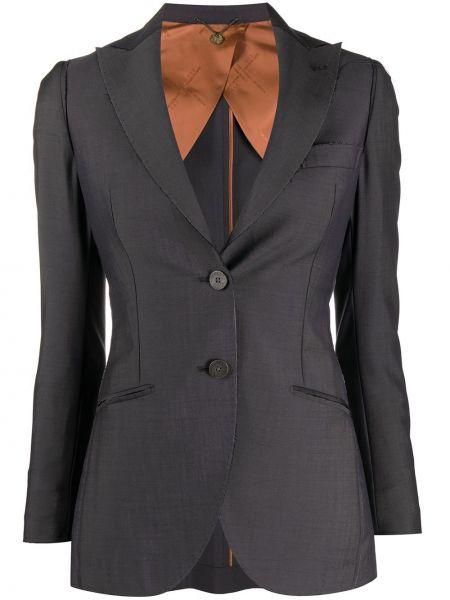 Шерстяная приталенная серая куртка на пуговицах Maurizio Miri