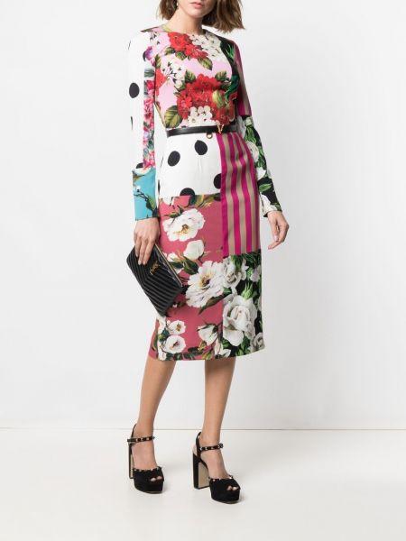 Прямое шелковое белое платье макси Dolce & Gabbana
