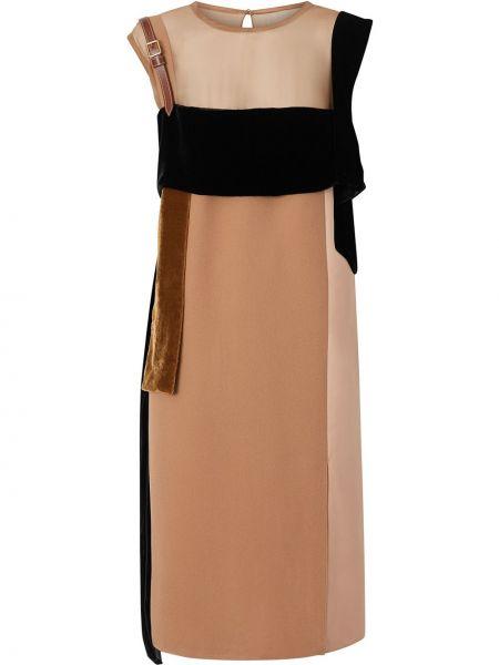 Кожаное платье без рукавов с капюшоном Burberry
