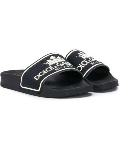 Шлепанцы черный с логотипом Dolce & Gabbana Kids