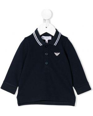 Асимметричная синяя рубашка на пуговицах Emporio Armani Kids