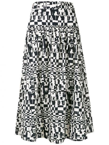 Хлопковая расклешенная черная юбка миди Andrea Marques