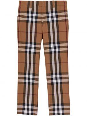 Spodni wełniany brązowy dom spodnie z paskiem Burberry