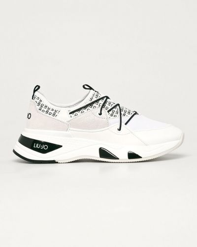 Białe sneakersy skorzane sznurowane Liu Jo
