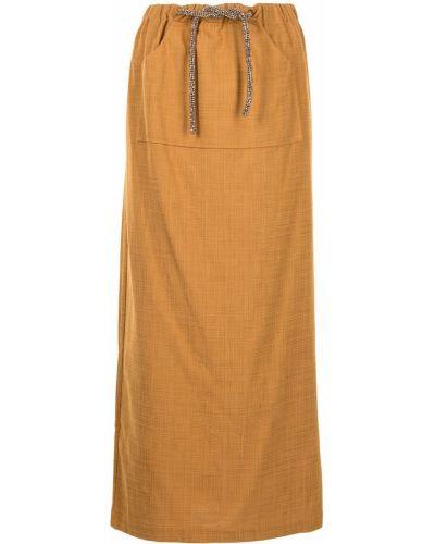 Коричневая хлопковая юбка макси с завязками Christopher Esber