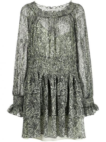 Платье в цветочный принт - зеленое Cinq À Sept