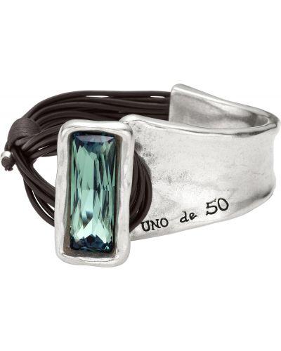 Коричневый массивный кожаный браслет металлический с декоративной отделкой Unode50