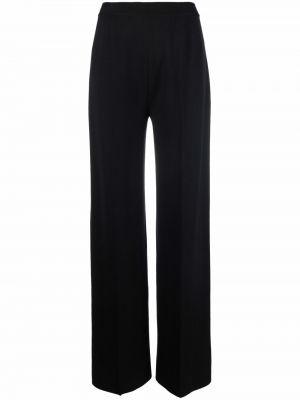 Czarne spodnie z wysokim stanem Loro Piana