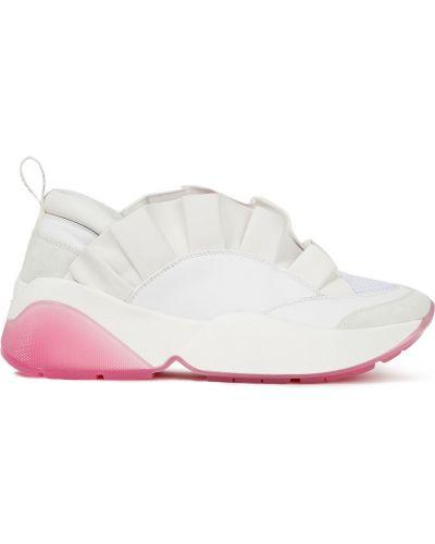 Białe sneakersy skorzane z siateczką Emilio Pucci