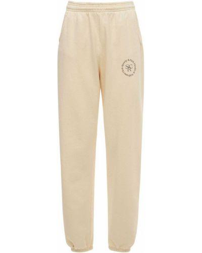 Бежевые спортивные брюки эластичные Sporty And Rich