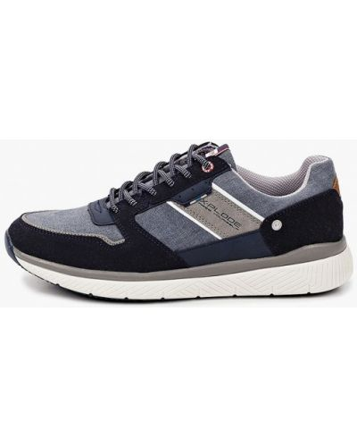 Синие кожаные кроссовки X-plode