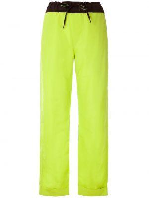 С завышенной талией зеленые брюки эластичные À La Garçonne