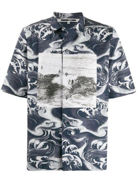 Niebieska klasyczna koszula krótki rękaw bawełniana Mcq Alexander Mcqueen