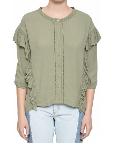 Блузка из вискозы зеленый Patrizia Pepe