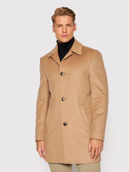 Płaszcz wełniany - brązowy Roy Robson
