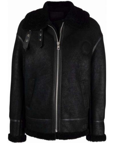 Кожаная куртка длинная - черная Liska