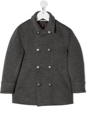 Серое кашемировое пальто классическое двубортное Brunello Cucinelli Kids