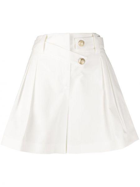 Хлопковые однобортные белые шорты с карманами Max & Moi