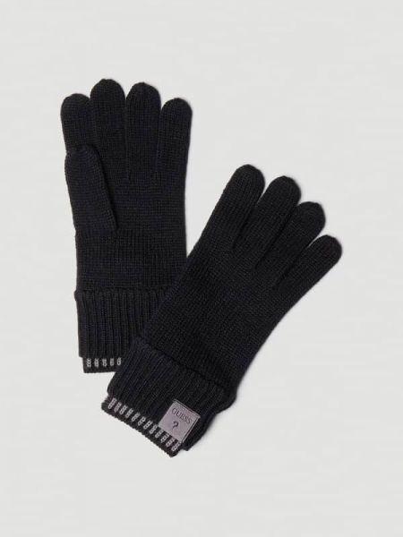 Czarne rękawiczki wełniane w paski Guess