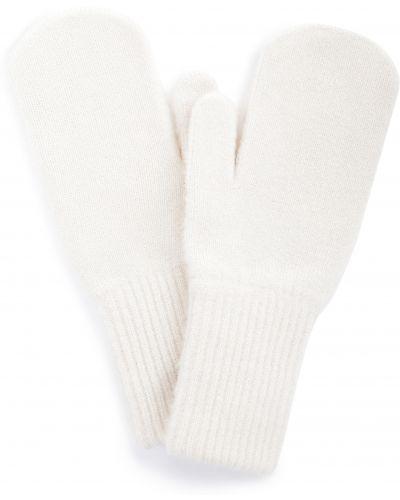 Шерстяные белые варежки эластичные Baon