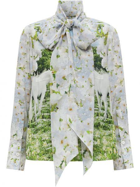 Шелковая белая блузка с бантом Burberry