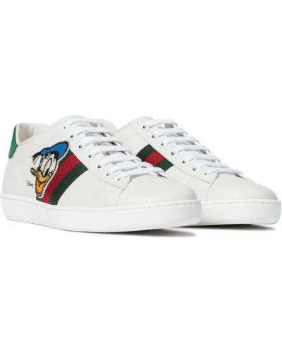Biały skórzany sneakersy Gucci