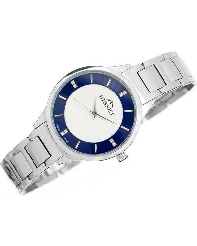 Niebieski klasyczny szwajcarski zegarek srebrny Bisset