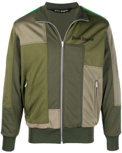 Zielona długa kurtka z długimi rękawami z printem Palm Angels