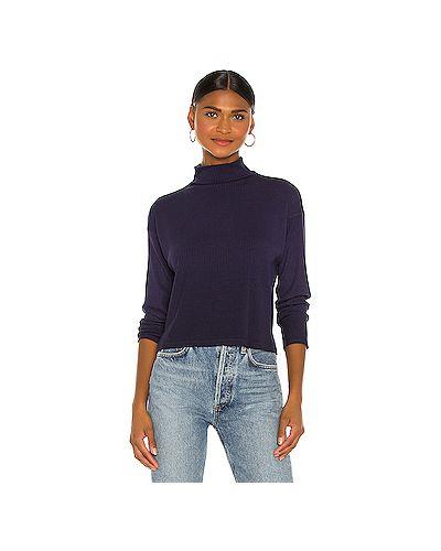 Шелковый синий свитер с воротником в рубчик Enza Costa