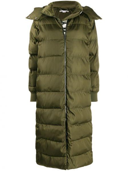 Зеленый длинное пальто с капюшоном свободного кроя Stella Mccartney