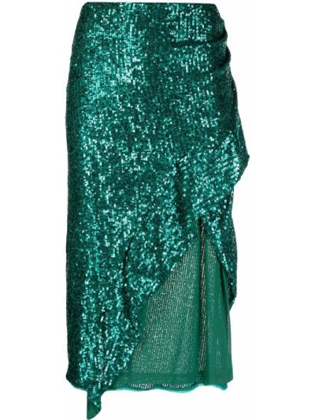 Zielona spódnica z wysokim stanem asymetryczna Pinko