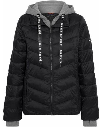 Трикотажная черная куртка с капюшоном Dkny