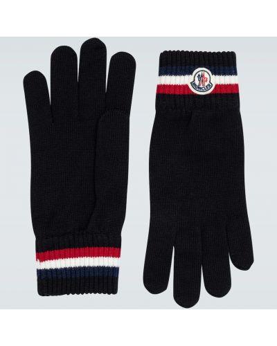Wełniany czarny rękawiczki z mankietami z paskami Moncler