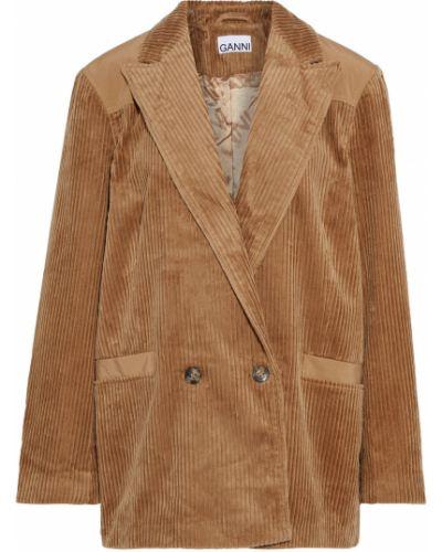 Коричневый пиджак двубортный с подкладкой Ganni