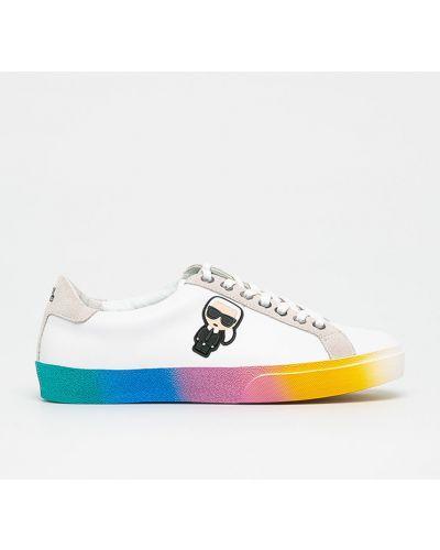 Кожаные кроссовки текстильные на шнуровке Karl Lagerfeld