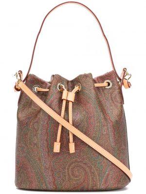 Хлопковая коричневая кожаная сумка круглая на шнурках Etro