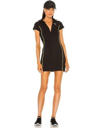 Трикотажное черное спортивное платье на молнии Puma