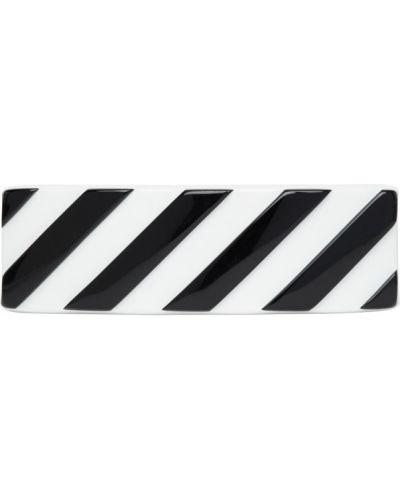 Biały spinka do włosów z paskami Off-white