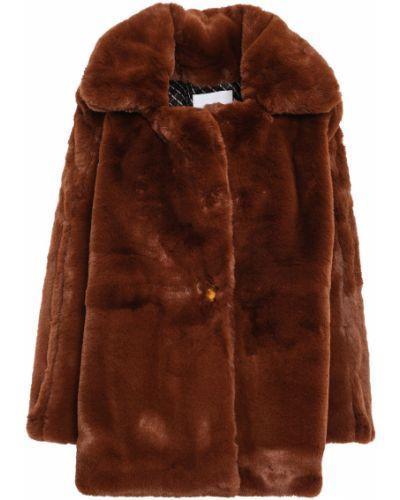 Коричневое пальто из искусственного меха с карманами Each X Other