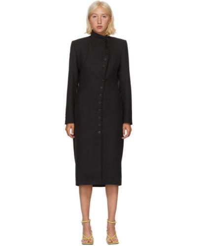 Черное платье макси с длинными рукавами с воротником с манжетами Situationist
