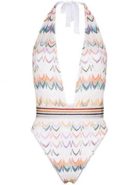 Белый купальник с вырезом с вышивкой с завязками Missoni Mare