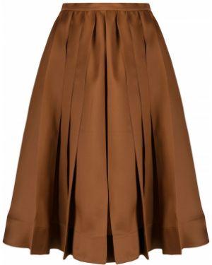 Шелковая коричневая юбка миди со складками в рубчик Rochas
