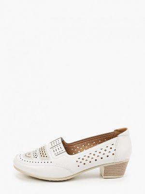 Кожаные белые туфли закрытые Exquily