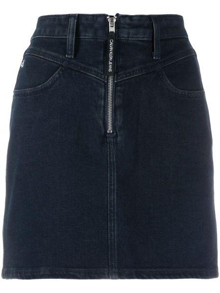Синяя прямая кожаная юбка мини Calvin Klein Jeans