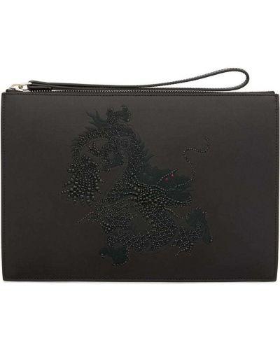 Skórzany czarny z paskiem torba sprzęgło prostokątny Giuseppe Zanotti