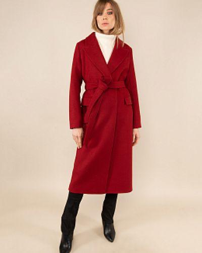 Красное шерстяное пальто с воротником заря моды